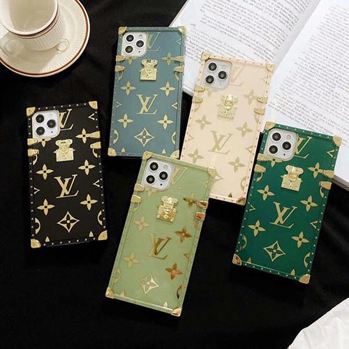 Louis Vuitton ルイヴィトン トランク型 iphone13mini/13pro maxケース ファッションシュー iPhone12/12pro maxソフトケース 柔らかい 緑の色 爽やか iPhone11/11pro maxカバー 人気