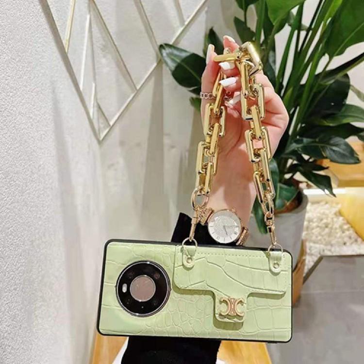 贅沢風 チェーン付き セリーヌ HUAWEI Mate 40/Mate 30ブランドケース レザー製 女子 IPhone13/12Sフルーカバー おしゃれ 金属製ロゴ Celine アイフォン13pro/12Spro max携帯カバー