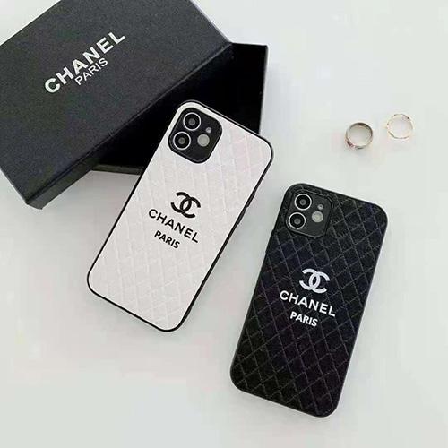 シンプルスタイル Chanel シャネル iphone13mini/13pro maxケース 黒白 プリントロゴ iPhone12/12pro maxレザーケース レディース 上品 高級 iphone11/11pro maxカバー 人気 名人愛用