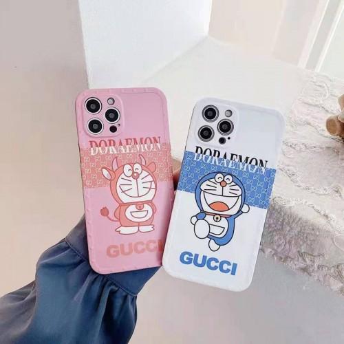 Gucci x Doraemon iphone12 mini/12 pro maxケースハイブランドiphone se2/12/13 pro maxカバー 革製ストラップ付芸能人愛用可愛い アイフォン