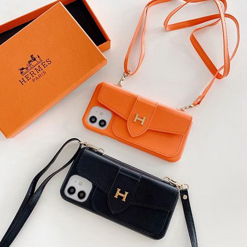高級感 高品質 革製 ブランド エルメス iPhone13/13proレザーケース カード入れ ストラップ付き アイフォン12pro/12pro max/12mini/12ケース 名人愛用 女性向け スタンドできる iphone11/11 pro/11 pro maxカバー